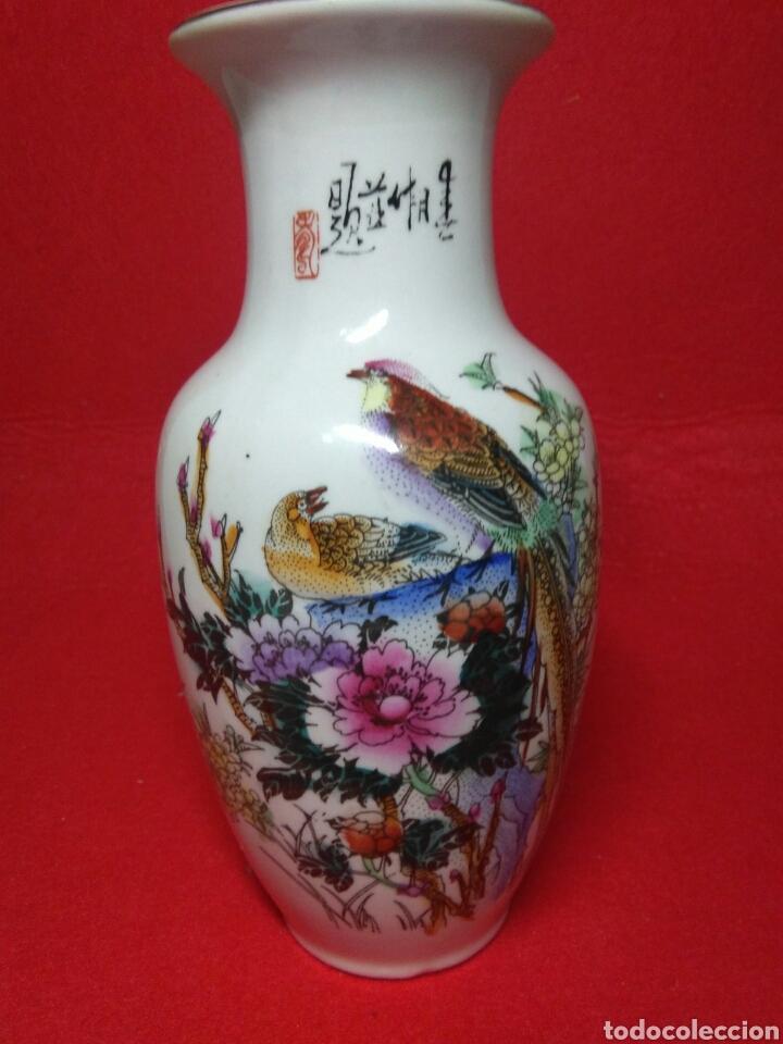 Arte: ceramica jarron chino ,decorancion florar y animal ,caligrafia china ,sellos de ceramista - Foto 9 - 247419960