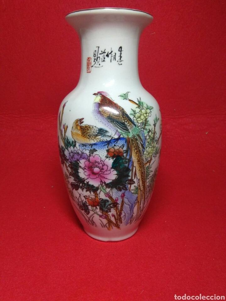 Arte: ceramica jarron chino ,decorancion florar y animal ,caligrafia china ,sellos de ceramista - Foto 11 - 247419960