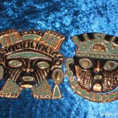 Arte: PAREJA DOS MÁSCARAS METAL REPUJADO GUERREROS AZTECAS MAYAS MÉXICO. Lote 248060910