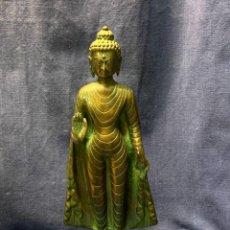 Arte: BUDA EN PIE STANDING INDIA BRONCE PATINADO S XX 2ª MITAD 34X12CMS. Lote 249214985