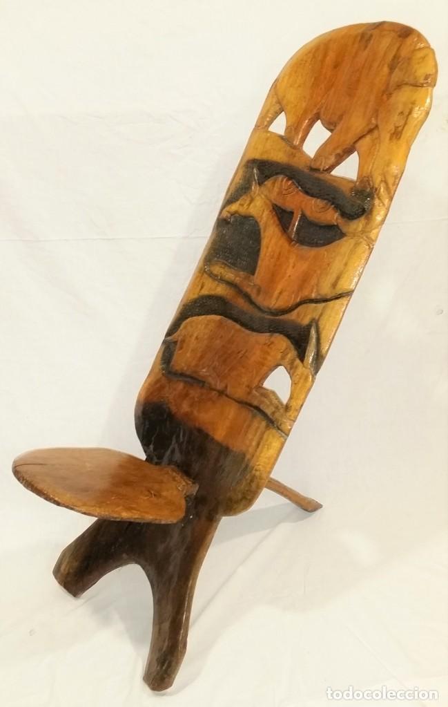 Arte: OFERTA HASTA EL 31 AGOSTO: Curiosa silla de parto Africana artesanal tallada en madera maciza - Foto 2 - 252162130