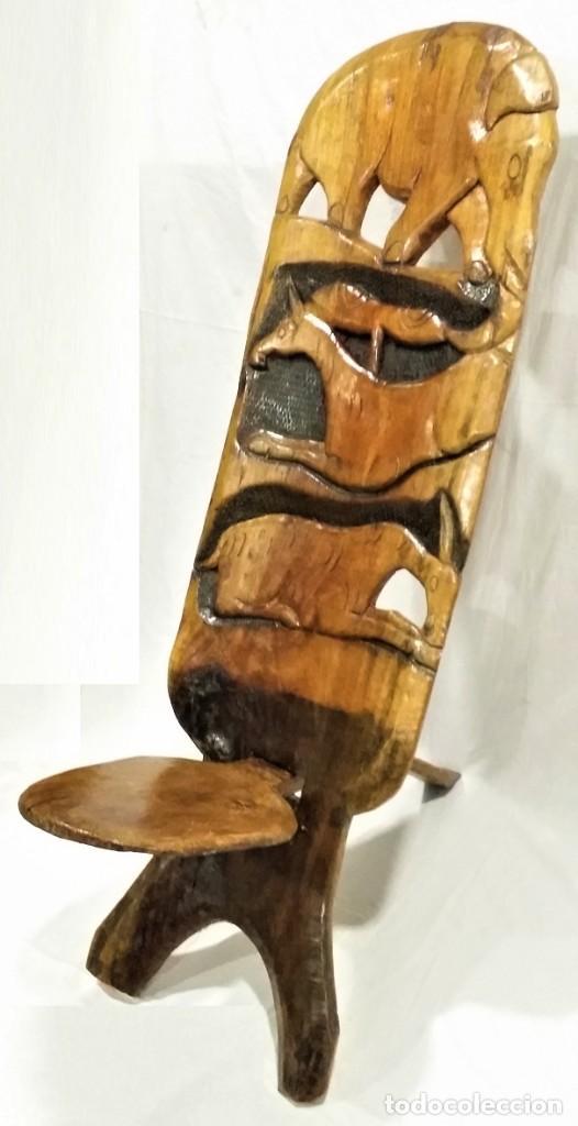 Arte: OFERTA HASTA EL 31 AGOSTO: Curiosa silla de parto Africana artesanal tallada en madera maciza - Foto 3 - 252162130