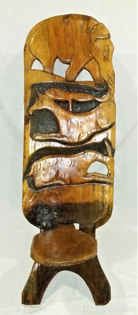 Arte: OFERTA HASTA EL 31 AGOSTO: Curiosa silla de parto Africana artesanal tallada en madera maciza - Foto 4 - 252162130
