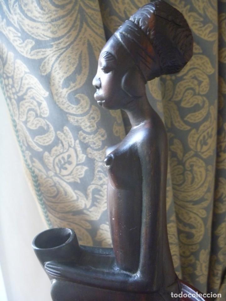FIGURA AFRICANA LUBA PIEZA MBOKO ERÓTICA MUJER CUENCO CEREMONIA ADIVINACIÓN (Arte - Étnico - África)