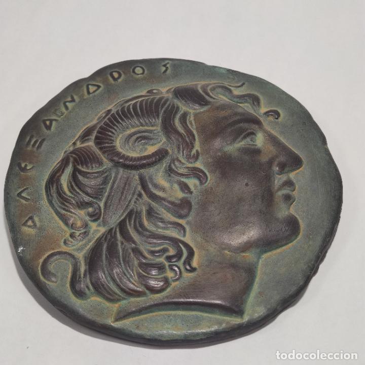 Arte: Muy bellos medallones griegos de Alejandro Magno y Diosa Aohna. Imitación a bronce patinado antiguo. - Foto 2 - 253695175