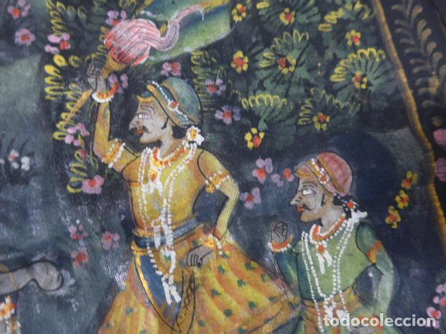 Arte: Antigua pintura oriental sobre tela, a identificar, de la india. - Foto 2 - 253931870