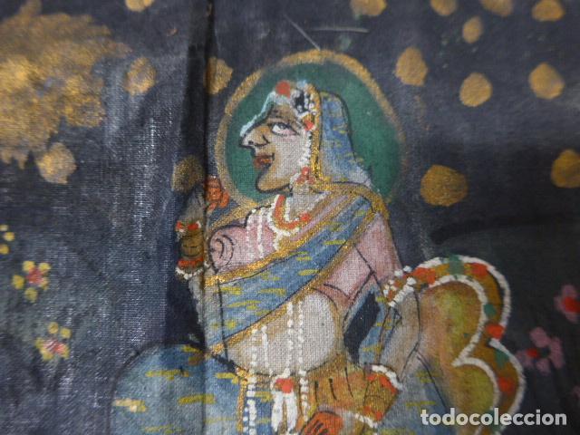 Arte: Antigua pintura oriental sobre tela, a identificar, de la india. - Foto 3 - 253931870
