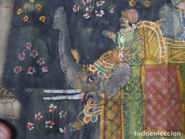 Arte: Antigua pintura oriental sobre tela, a identificar, de la india. - Foto 4 - 253931870