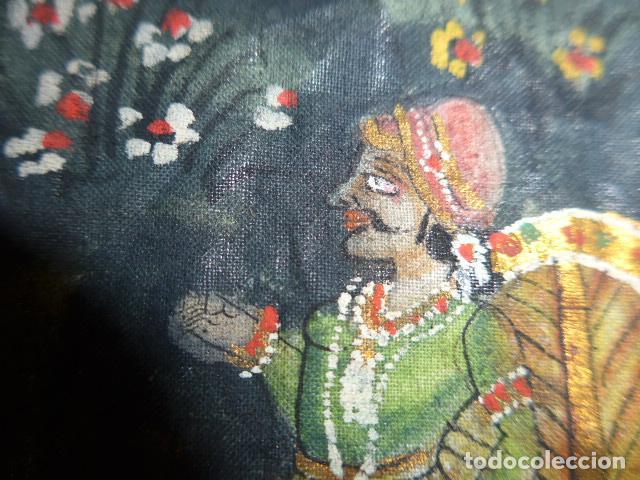 Arte: Antigua pintura oriental sobre tela, a identificar, de la india. - Foto 5 - 253931870