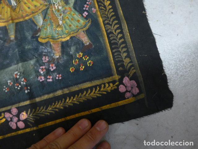 Arte: Antigua pintura oriental sobre tela, a identificar, de la india. - Foto 6 - 253931870