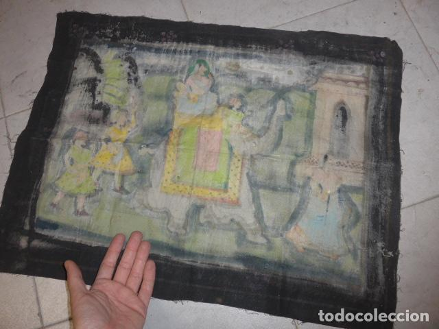Arte: Antigua pintura oriental sobre tela, a identificar, de la india. - Foto 8 - 253931870