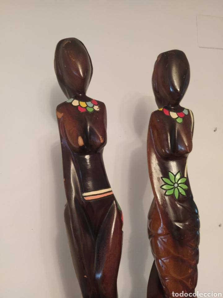 Arte: ARTE AFRICANO. LOTE DE DOS FIGURAS FEMENINAS. MADERA. - Foto 2 - 253956970
