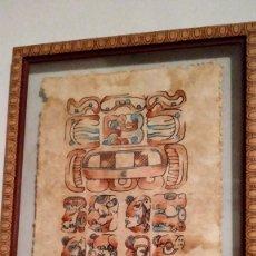 Arte: DIBUJO AZTECA SOBRE SOPORTE VEGETAL .MEXICO.. Lote 254813005