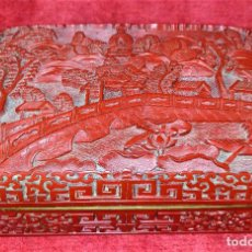 Arte: CAJA EN LACA CHINA TALLADA A MANO. INTERIOR EN METAL. CHINA. SIGLO XIX-XX. Lote 257011760