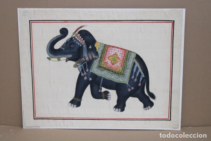 TELA PINTADA DE MANUFACTURA HINDÚ (Arte - Étnico - Asia)