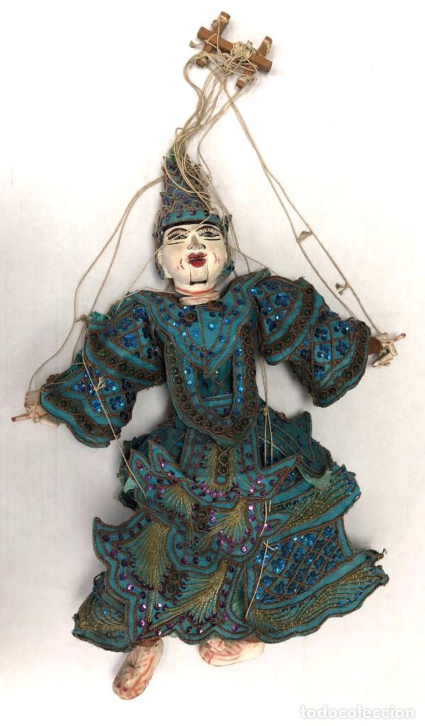 ANTIGUA MARIONETA TITERE DE THAILANDIA. COMPLETA. HECHA EN MADERA POLICROMADA (Arte - Étnico - Asia)