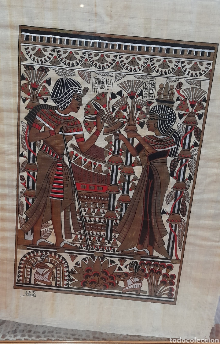 Arte: Papiros firmado Antiguo, enmarcado de 51 X 41 Cm. Ver fotos - Foto 2 - 258641450