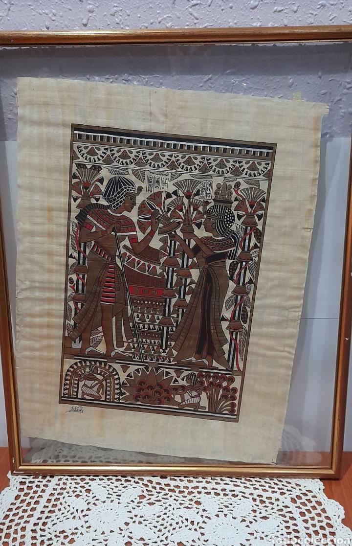 Arte: Papiros firmado Antiguo, enmarcado de 51 X 41 Cm. Ver fotos - Foto 3 - 258641450