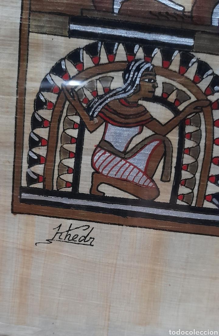 Arte: Papiros firmado Antiguo, enmarcado de 51 X 41 Cm. Ver fotos - Foto 4 - 258641450