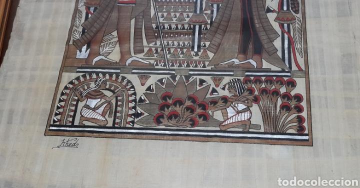 Arte: Papiros firmado Antiguo, enmarcado de 51 X 41 Cm. Ver fotos - Foto 7 - 258641450
