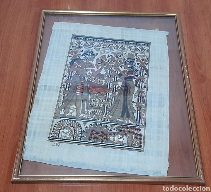 Arte: Papiros firmado Antiguo, enmarcado de 51 X 41 Cm. Ver fotos - Foto 8 - 258641450