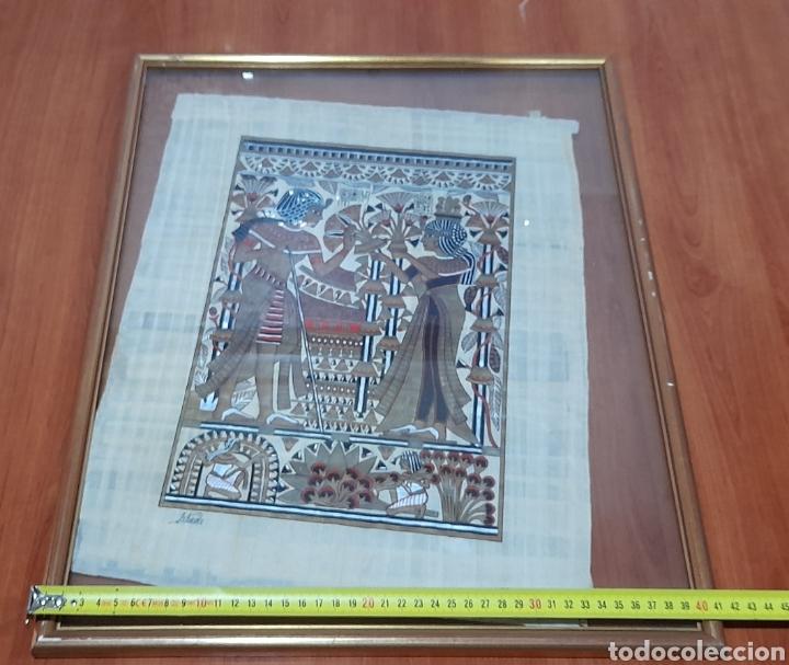 Arte: Papiros firmado Antiguo, enmarcado de 51 X 41 Cm. Ver fotos - Foto 10 - 258641450