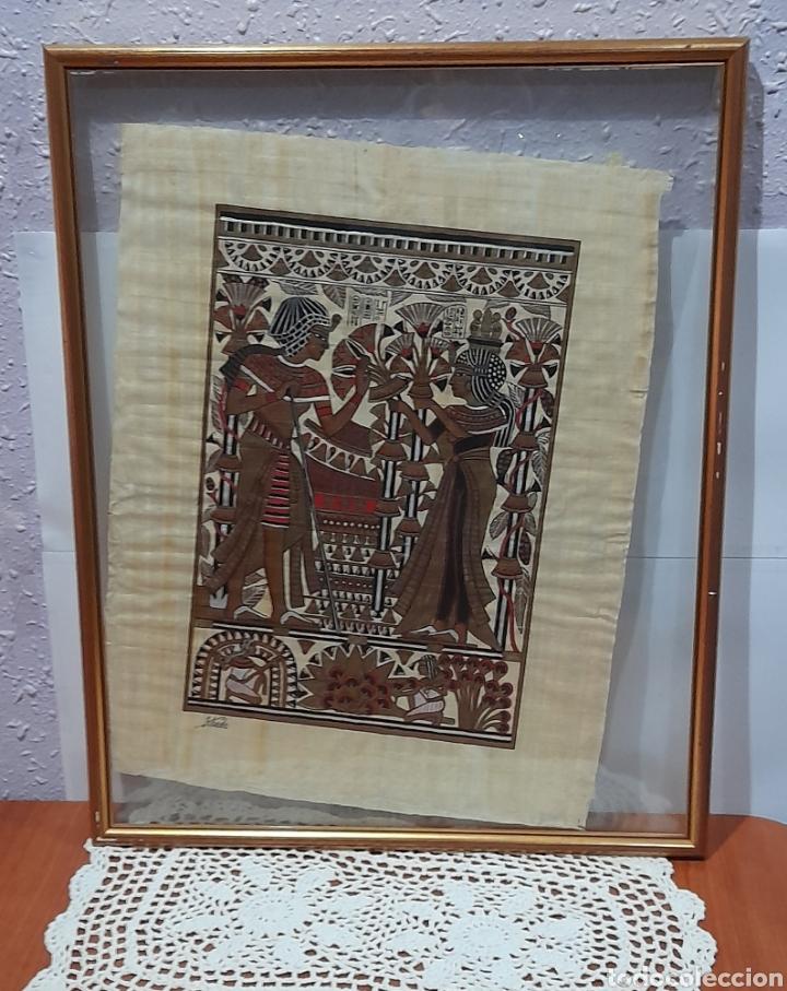 PAPIROS FIRMADO ANTIGUO, ENMARCADO DE 51 X 41 CM. VER FOTOS (Arte - Étnico - África)