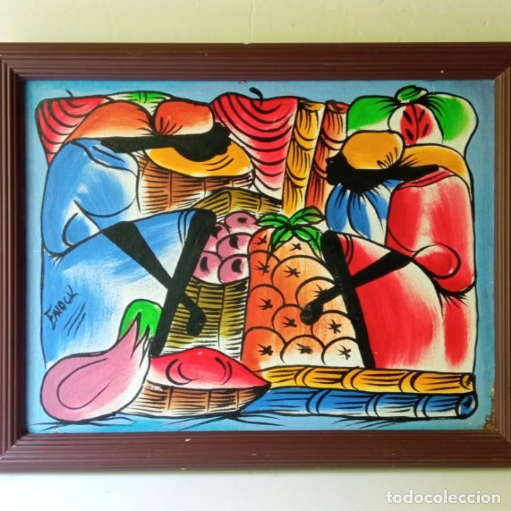 Arte: cuadro con pintura Haití colorista sobre tabla enmarcda - Foto 3 - 261543295