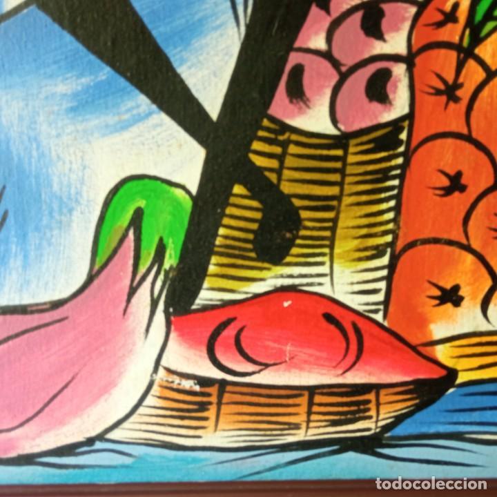 Arte: cuadro con pintura Haití colorista sobre tabla enmarcda - Foto 4 - 261543295