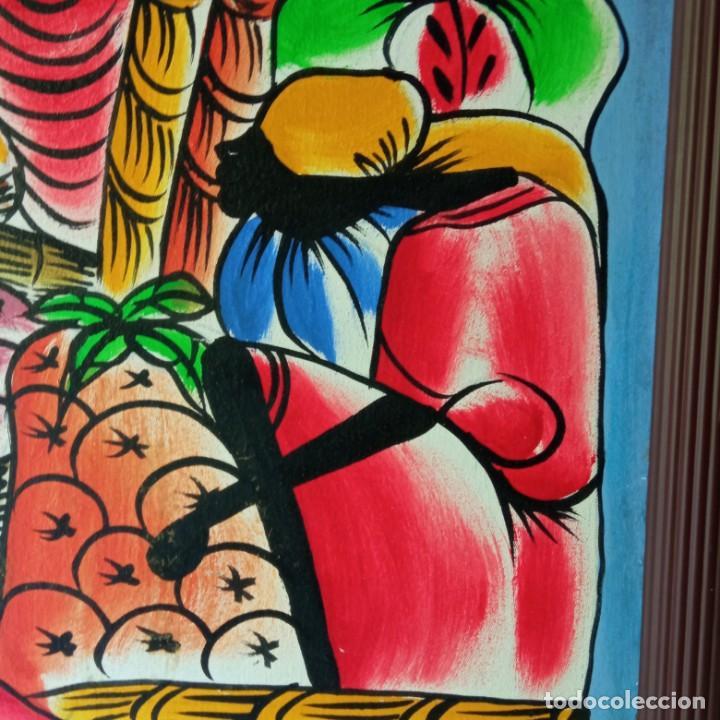 Arte: cuadro con pintura Haití colorista sobre tabla enmarcda - Foto 7 - 261543295
