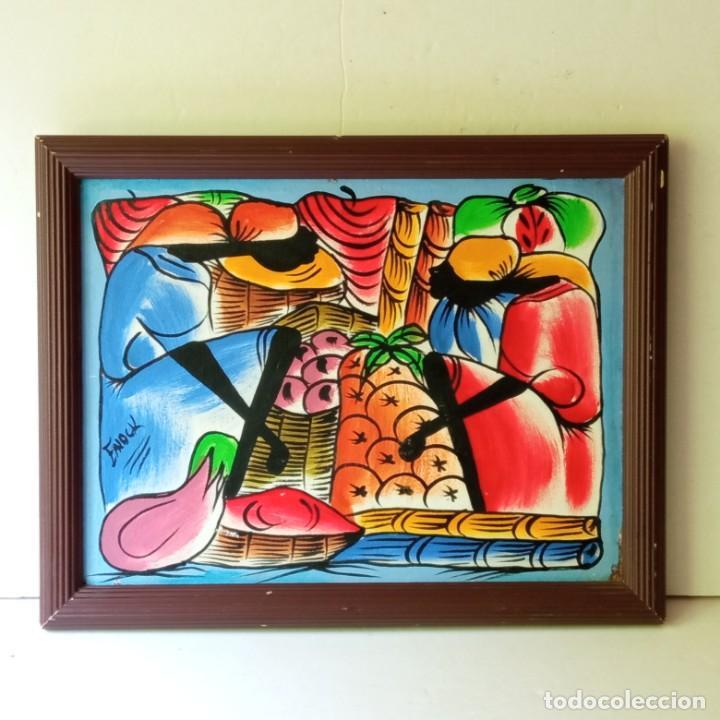Arte: cuadro con pintura Haití colorista sobre tabla enmarcda - Foto 16 - 261543295