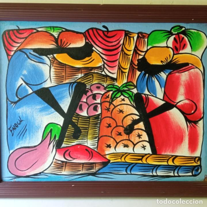 Arte: cuadro con pintura Haití colorista sobre tabla enmarcda - Foto 19 - 261543295