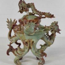 Arte: ESPECTACULAR JARRÓN CHINO - TALLA EN JADE IMPERIAL - S. XIX. Lote 261913235