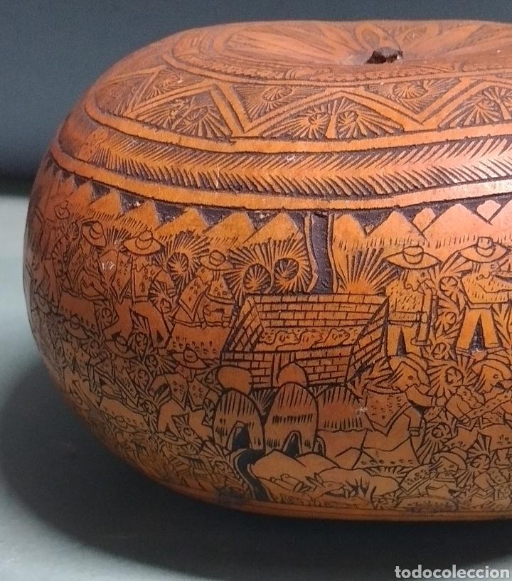 Arte: Calabaza arte cultura peruana tallada y grabada escenas vida y personajes nativos - Foto 8 - 261913710