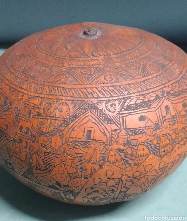 Arte: Calabaza arte cultura peruana tallada y grabada escenas vida y personajes nativos - Foto 2 - 261915470