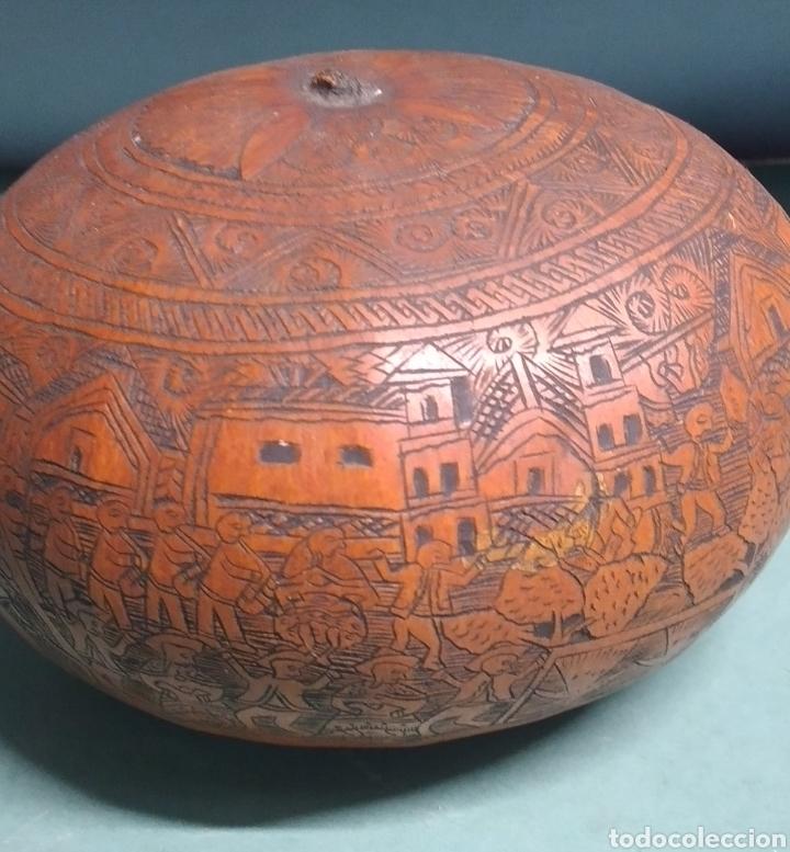 Arte: Calabaza arte cultura peruana tallada y grabada escenas vida y personajes nativos - Foto 3 - 261915470
