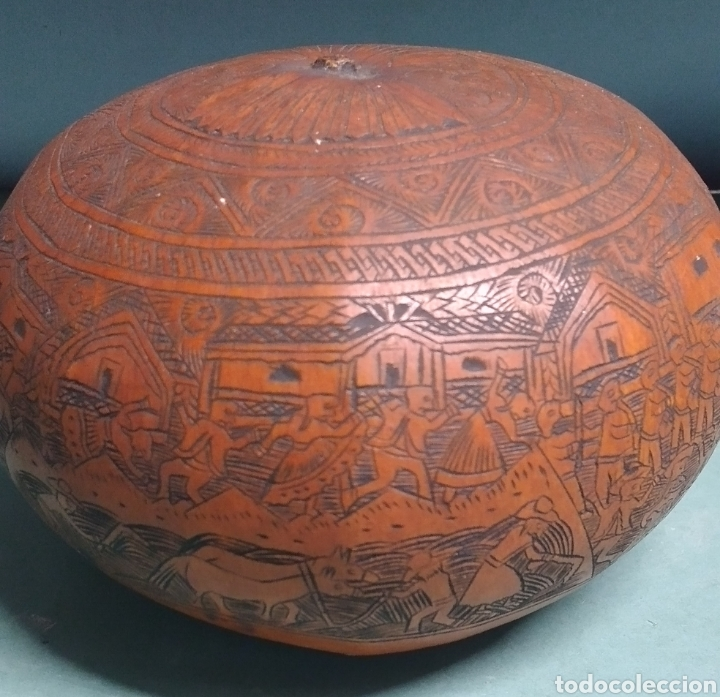 Arte: Calabaza arte cultura peruana tallada y grabada escenas vida y personajes nativos - Foto 8 - 261915470
