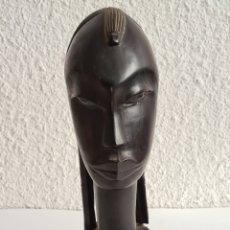 Arte: TALLA DE MADERA CABEZA MUJER AFRICANA - DECORACIÓN ARTE ÉTNICO ÁFRICA. Lote 262128485