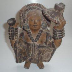 Arte: REPRODUCCIÓN DE UNA FLAUTA PRECOLOMBINA. TERRACOTA. PINTADA Y PATINADA. SIGNADA INAH. MÉXICO.. Lote 263043680