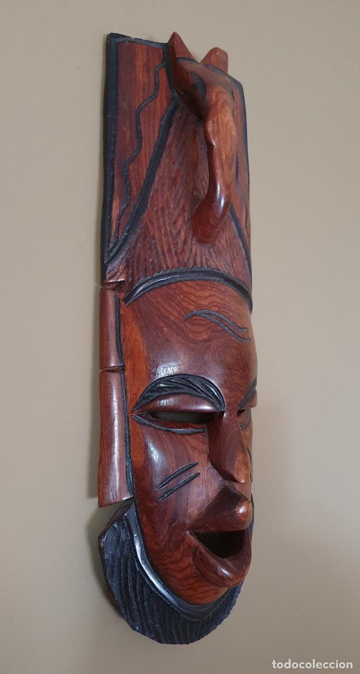 Arte: Gran máscara antigua africana en madera de caoba auténtica tallada a mano . - Foto 4 - 263189960