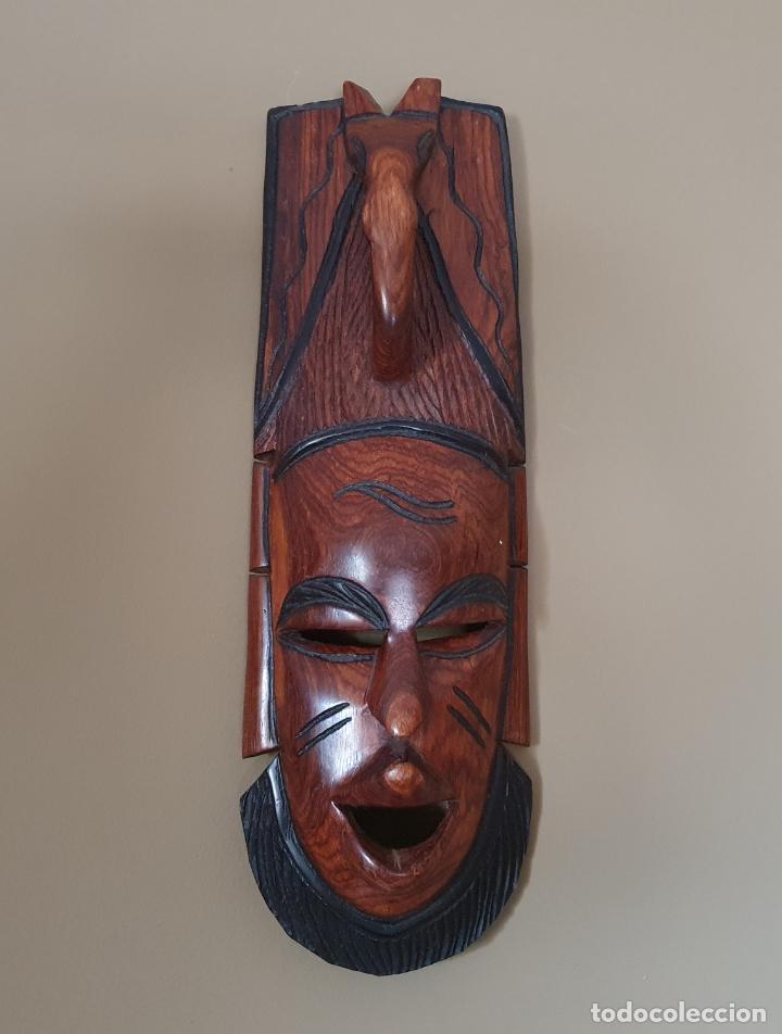Arte: Gran máscara antigua africana en madera de caoba auténtica tallada a mano . - Foto 5 - 263189960