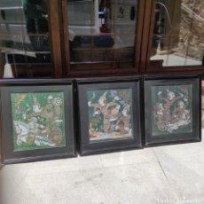 Art: TRES CUADROS SOBRE TELA DE DIOSES DE LA MITOLOGÍA TAILANDESES TAILANDIA. Lote 263950875