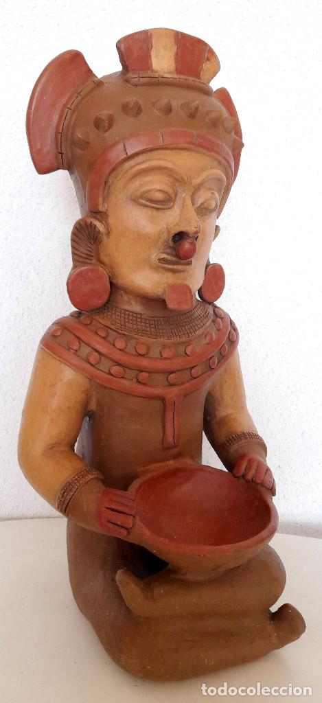 GRAN FIGURA REPRODUCCIÓN BARRO TERRACOTA PRECOLOMBINA ? POSIBLE DIOS DE LA LLUVIA 54 CM DE ALTO (Arte - Étnico - América)