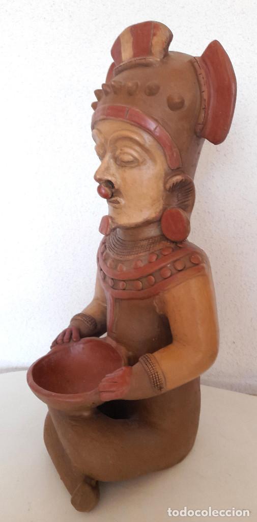 Arte: Gran figura reproducción barro terracota Precolombina ? posible Dios de la Lluvia 54 cm de alto - Foto 3 - 264051445
