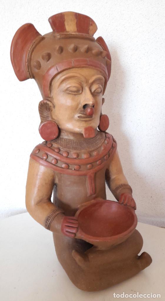 Arte: Gran figura reproducción barro terracota Precolombina ? posible Dios de la Lluvia 54 cm de alto - Foto 7 - 264051445