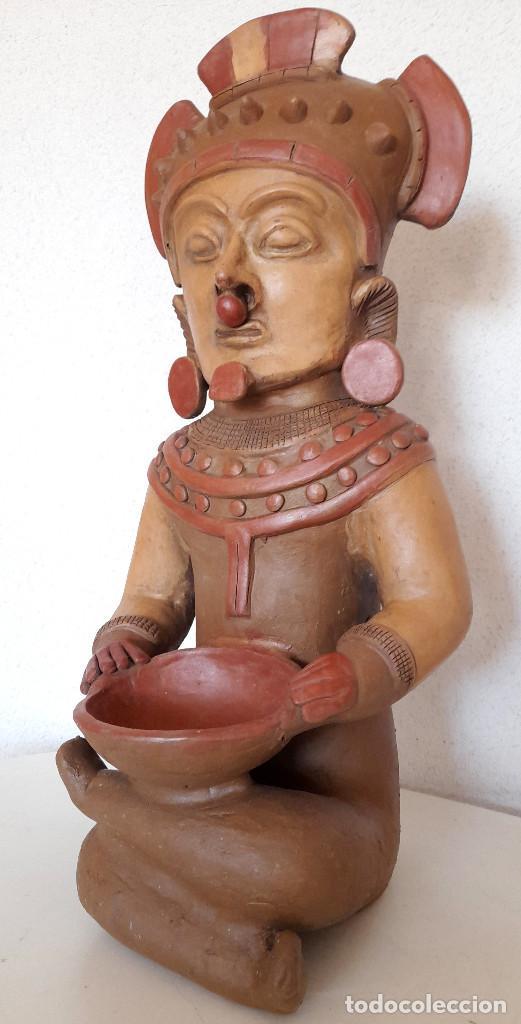 Arte: Gran figura reproducción barro terracota Precolombina ? posible Dios de la Lluvia 54 cm de alto - Foto 9 - 264051445