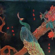 Arte: CONTRAVENTANA O PUERTA DE MUEBLE CHINO,TALLADA EN MADERA Y PINTADA A MANO , CHINA 1900-10. Lote 264682834