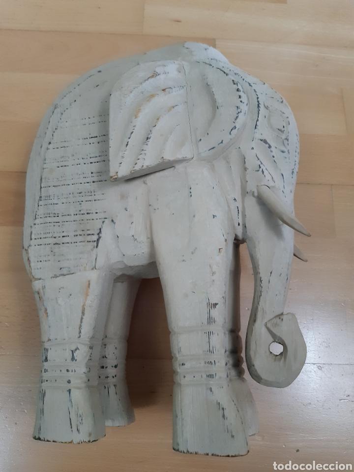 GRAN TALLA ELEFANTE REALIZADO EN MADERA TALLADA DE 34X25CM. VER DESCRIPCIÓN (Arte - Étnico - Asia)