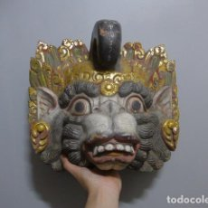 Art: ANTIGUA GRAN MASCARA ASIATICA ORIENTAL DE MADERA TALLADA, ORIGINAL. Lote 265958948