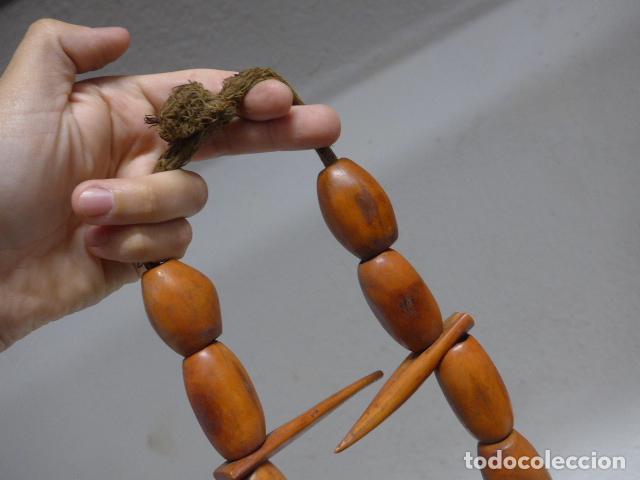 Arte: Antiguo collar de hueso trabajado de tribu africana, original, del camerun. fetiche, amuleto. - Foto 2 - 266133078